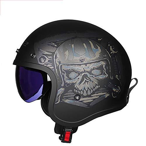 SXC 3/4 Offener Sturzhelm, Helmet Motorrad-Helm Jet-Helm Scooter-Helm Vespa-Helm Halbhelme Motorrad Helm Flat ECE-zertifizierter, L-XXL -