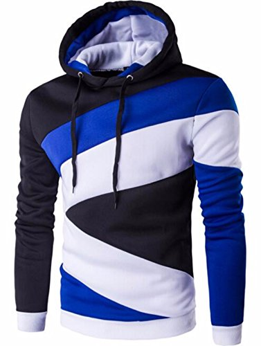 Men's Hombre Hip Hop Color Stitching Slim Fit Hoodie blue