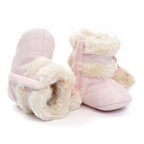 ESTAMICO Baby Mädchen Winterstiefel Winter Krabbelschuhe Grau 3-6Monate hellrosa