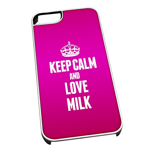 Duke Gifts Bianco Cover per iPhone 5/5S 1277 Pink Keep Calm And Love Latt