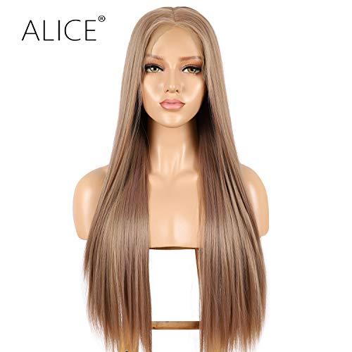 Aliice Kunsthaar-Perücke, 13 x 6 cm, Blond, 56 cm lang, tiefes Teil, seidig glatt, Leinenbraun für Frauen, vorgerupft mit natürlichem Haaransatz und Babyhaar