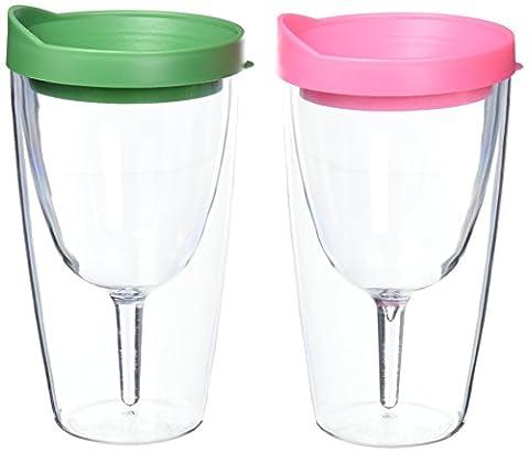 Southern Homewares Wein 2Go. isolierte Vino doppelte Wand Acryl Wein Trinkglas mit Verde und Pink Getränke Durch Deckel, (Rosa 16 Ounce Tumbler)