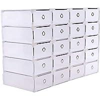 Homgrace 20 Cajas para Zapatos Transparente Plástico, Caja Guardar Zapatos, Calcetines, Juguetes,