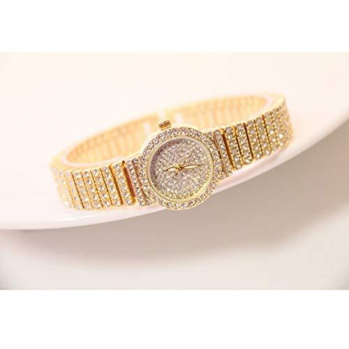 Hswt Damenuhr Quarzuhr für Frauen Mode Armbanduhr Volle Strass-Handgelenksdekoration Gypsophila Trend Wasserdicht Edelstahl-Uhrenzubehör,Gold