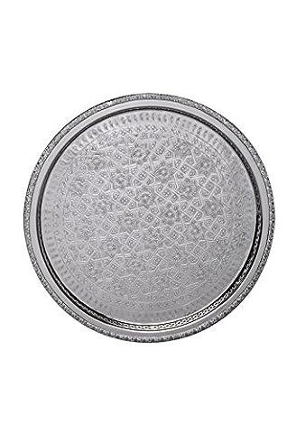 marokkanisches Tablett Nadia 42cm Silberfarbig