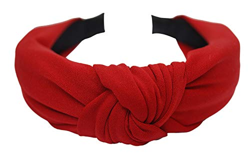 Vogue Hair Accessories Korean Style Solid Fabric Knot Plastic Hairband Headband for Girls and Woman (Red)