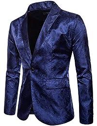 WanYangg Blazer da Uomo Elegante Un Pulsante Giacca da Blazer da Party  Stampa Scura Stile Palazzo Fantasia Tempo Libero Slim Fit Blazer… db9809ffec7