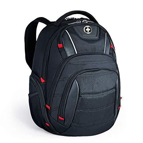 swissdigital 35L Laptop-Rucksack, Geschäfts Reise Tasche Wasserdichter College School Computer Rucksack TSA Freundliche mit USB Ladeanschluss/RFID Schutz für 15,6 Zoll Laptops, Schwarz Schwarz Laptop