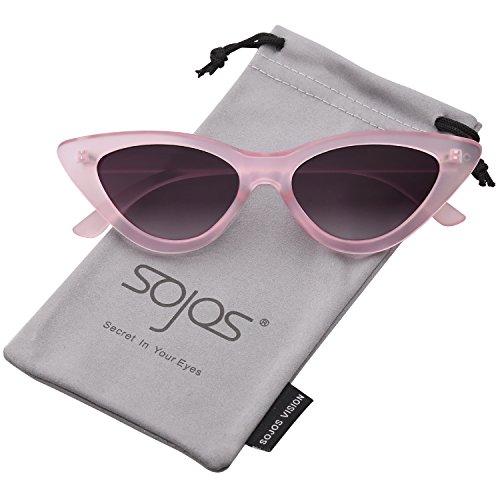 SOJOS Katzenauge Rahmen Mode UV-Schutz Damen Sonnenbrille Cat Eye SJ2044 mit Rosa Rahmen/Grau Linse