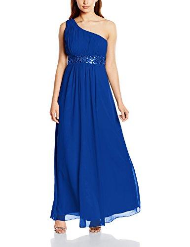 Astrapahl Damen Kleid One Shoulder mit Pailletten, Maxi, Einfarbig, Gr. 42, Blau