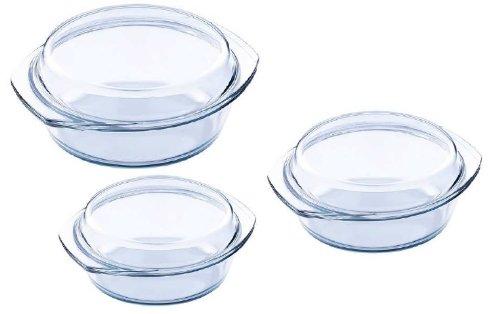 6tlg. Set Auflaufformen Glas 1,0L / 1,7L / 2,4L