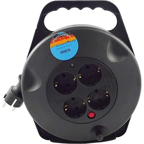 REV - Alargador eléctrico (4 enchufes, 10m), color negro