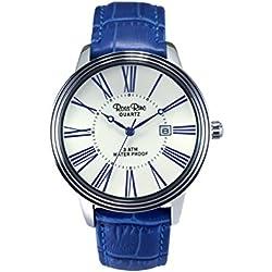 Ross Rino Aquila Unisex Quarzuhr mit weißem Zifferblatt Analog-Anzeige und Blau Leder Armband