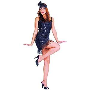 Reír Y Confeti - Fibfla003 - Disfraz Para Adultos - Charleston Negro Traje - Mujer - Talla M