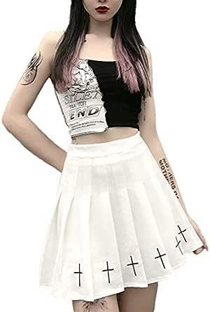 Bienwwow - Minigonne da donna, stile punk, con stampa a croce, colore: nero