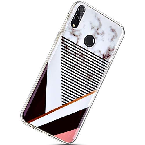 Herbests Kompatibel mit Huawei Honor 8X Marmor Hülle Silikon TPU Handyhülle Transparente Schutzhülle Durchsichtige Hülle Crystal Clear Ultra Dünn Weiche Bumper Case,Streifen