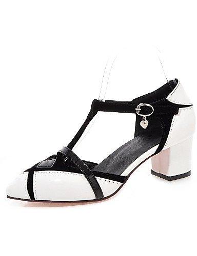 UWSZZ IL Sandali eleganti comfort Scarpe Donna-Scarpe col tacco-Formale-Tacchi / A punta-Quadrato-Finta pelle-Nero / Rosso / Bianco Black