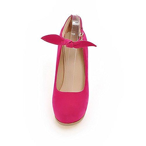 AllhqFashion Femme Boucle Rond Stylet Suédé Couleur Unie Chaussures Légeres Rose Tendre