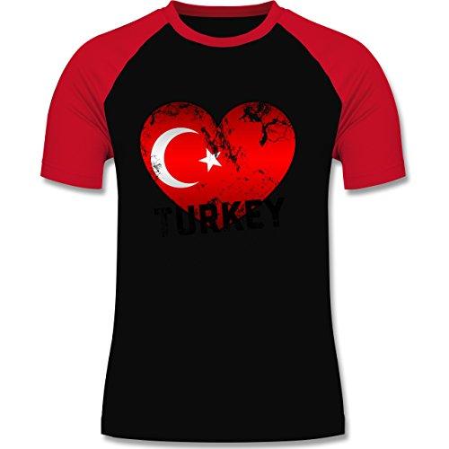EM 2016 - Frankreich - Turkey Herz Vintage - zweifarbiges Baseballshirt für Männer Schwarz/Rot