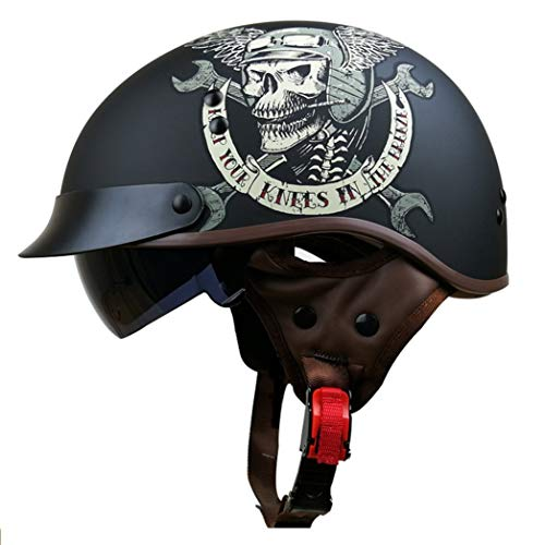 Casco per motociclisti per adulti Serie di stampa del cranio Caschi di motocicletta Flip Up Casco da sole interno Retro casco da motocross per protezione da corsa in mont