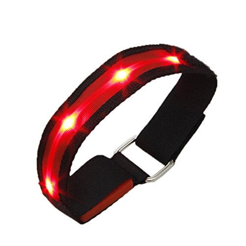 High Visibility Running Cycling Adjustable Reflective LED Flashing Fabric Armband, Red