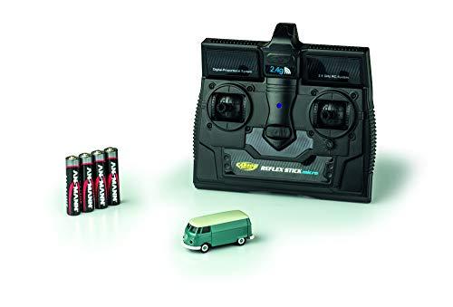 CARSON 500504118 - 1:87 VW T1 Bus Kastenwagen 2.4G 100{6f9fcb86546b58c4ca7cd901016e65d3b6978c449a3b2af2fb6c25677eaf6341} RTR, Fahrfertiges Modell, 2.4 GHz Fernsteuerung mit Ladeanschluss, inkl. 4xAAA Senderbatterien, mit LED Beleuchtung, Anleitung