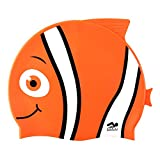 Kinder Schwimmen Hut, Lustiges Design [Silikon] Jungen Badekappe Animal Fisch-förmig [Mädchen Schwimmen Hut] für Kinder - Orange