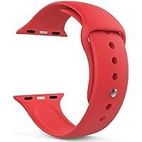 MoKo Apple Watch 42mm Cinturino, Morbido Braccialetto di Ricambio in Silicone per Apple Watch 42mm di Series 1 2015 & Series 2 2016, ROSSO (3 pezzi di bande inclusi per 2 lunghezze, NON adatto a Apple Watch 38mm) - Cuoio Rossa Watch