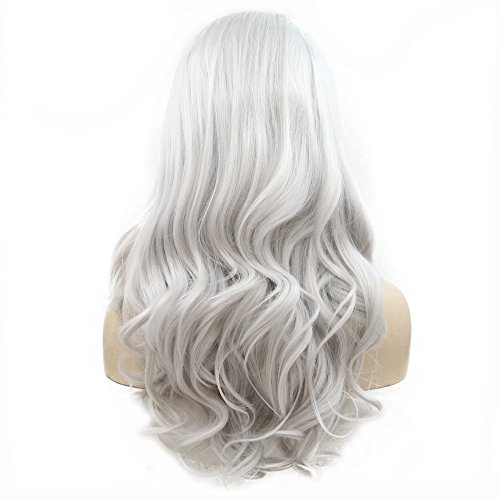Light Silver Gray Color Long Wave Hair Drag Queen Synthetic Lace Front Wigs For Women Girls Cosplay Wedding Party Summer Wigs Pastel Color - Child Beauty Queen Kostüm
