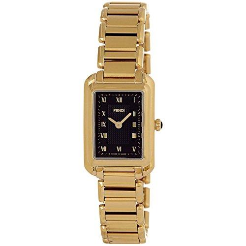 Fendi Women's Gold Tone Steel Bracelet & Case Swiss Quartz Black Dial Analog Watch F701421000
