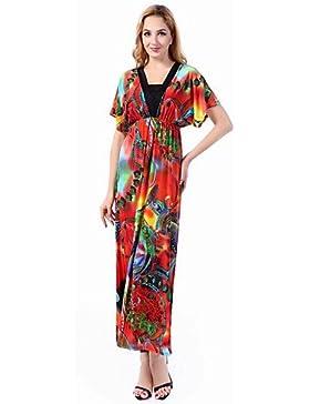 e5ac663b069e Swing Vestito Da donna-Spiaggia Boho Con stampe Asimmetrico Maxi Manica  corta Arancione