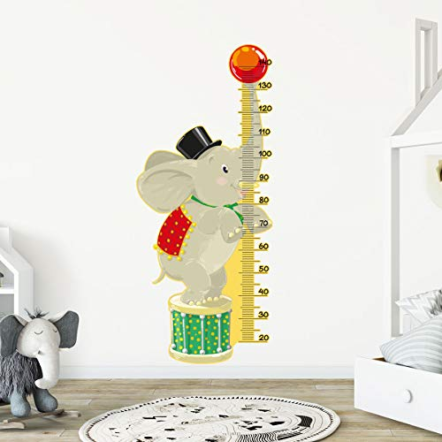 Stickers adhésifs Toise | Sticker Autocollant Elephant au cirque - Décoration murale chambre enfants | 140 x 60 cm