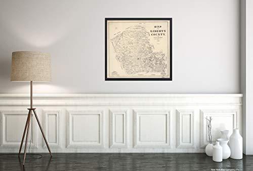 New York Map Company LLC 1895 Landkarte von Liberty County, Texas : General Land Office, Historische Vintage, Antikoptik, 56 x 61 cm -