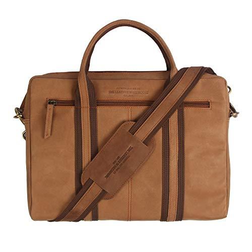 THE LEATHER WAREHOUSE Schlanke, handgefertigte Office-Aktentasche aus Leder, kompatibel mit dem MacBook Ultrabook Chromebook 13 inch Tan Brown - Tan Gurt