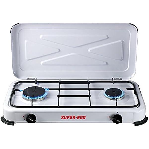 SUPER EGO SEH024800 Cocina gas portátil, Blanco, 60x10x30 cm ...
