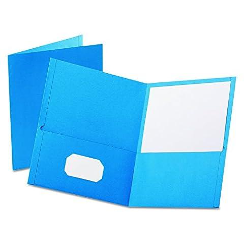 Twin-Pocket Portfolio, Embossed Leather Grain Paper, Light Blue