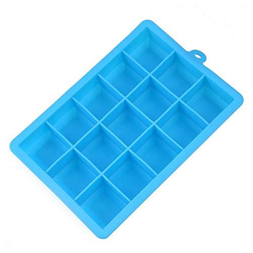 ürfelschale Formen große 15-Raster-Eiswürfel Vorratsbehälter Mold Tray Maker Rechteck Kitchen Bar Tool Light Blue ()