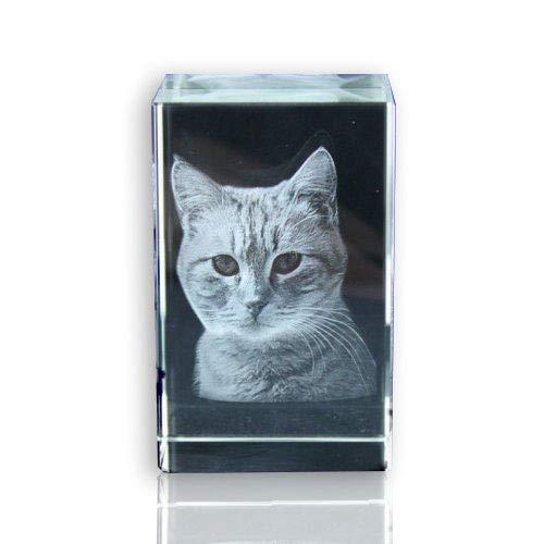 VIP-LASER 2D Glaskristall (Größe: L) mit Deinem Foto/Tierfoto / Katzen oder Hunde-Foto und Text (60x40x40mm)