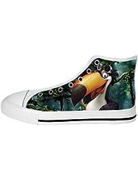Dalliy Toucan Bird Cartoon Women's Canvas shoes Schuhe Lace-up High-top Footwear Sneakers