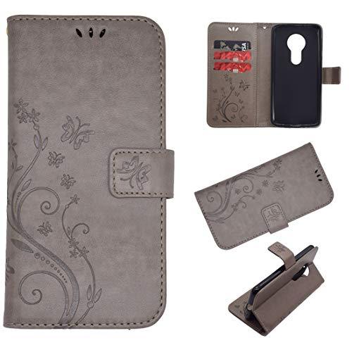 Schutzhülle für Moto G7, Leder, Kartenschlitz, Magnetverschluss, Standfunktion, stoßfest, geprägt, Schmetterlingsmotiv, kompatibel mit Motorola G7, grau