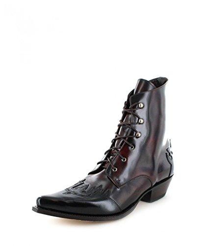 Sendra Boots Damen Stiefelette 11699 Schwarz Rot Westernstiefel, Groesse:38
