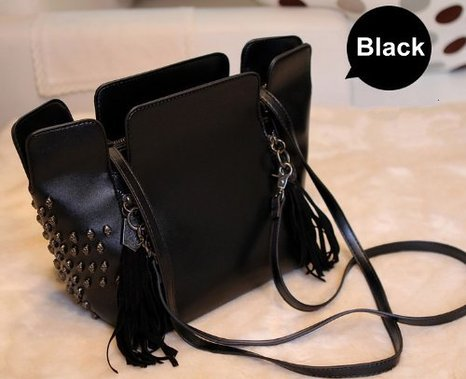 Estilo europeo moda Punk Rock Retro bolsa de flecos borla calavera bolsas de hombro mujeres bolsa Tote bolso bandolera bolsas, negro (negro) - ZLPU03