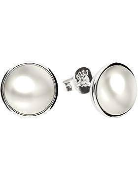 MYA art Kleine Runde Ohrringe Perlenohrringe Ohrstecker 925 Sterling Silber mit Perlen Weiß Perle Damen Kinder...