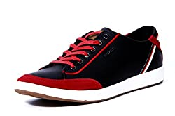 Provogue Mens Black Red Canvas Sneakers - 9 UK