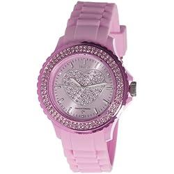 Nuvo - NU146 - Armbanduhr für Damen - Quartz - Analog - Pinkes Armband aus Silikon - Pinkes Zifferblatt - Swarovski Elemente und Diamanten - Modisch - Elegant - Stylish