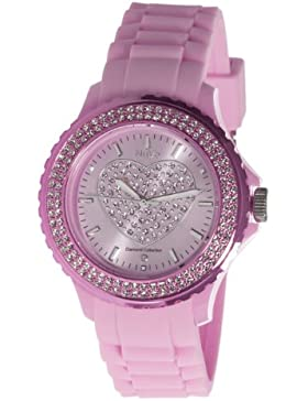 Nuvo - NU146 - Armbanduhr für Damen - Quartz - Analog - Pinkes Armband aus Silikon - Pinkes Zifferblatt - Swarovski...