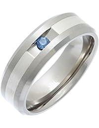 Theia Titanium and Silver Inlay Flat Court Blue Sapphire Matt 7 mm Ring