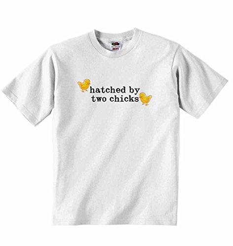 Küken Mädchen T-shirt (geschlüpftes von zwei Küken–Jungen Mädchen T-Shirt personalisierbar Tees Unisex Tshirt Kleidung für Musikliebhaber–Weiß weiß weiß 5 - 6 Years)