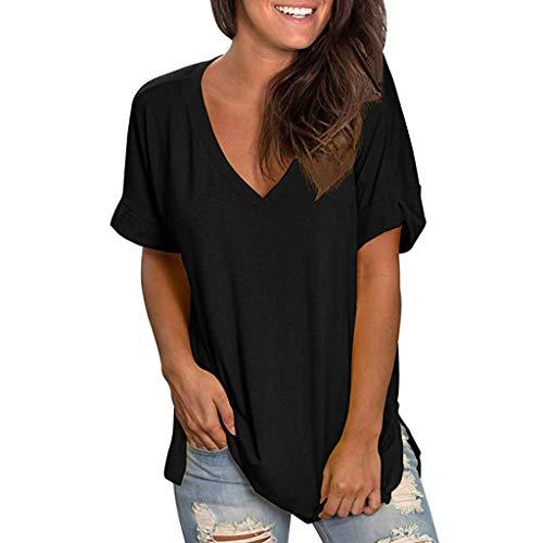 mounter- Damen Sommer V-Ausschnitt Kurzarm T-Shirt Casual Tunika Tops Bluse Damen Floral Print Pullover Shirt Tunika Tops Gr. Medium, Schwarz A