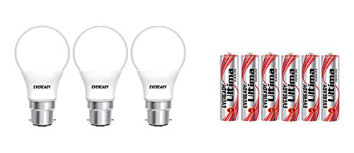 Eveready Base B22 7-Watt LED Bulb with 6 AAA Alkaline Batteries (Pack of 3, Cool Day Light)